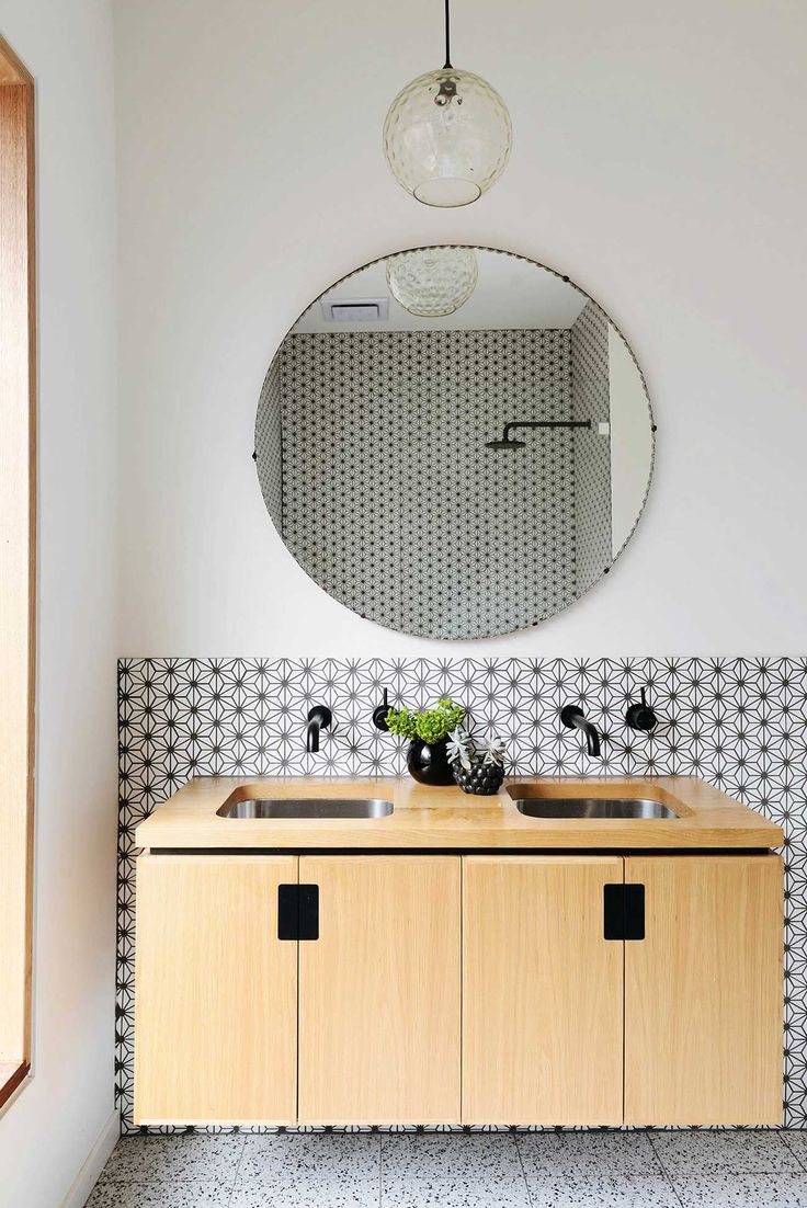 Black white tiled bathroom
